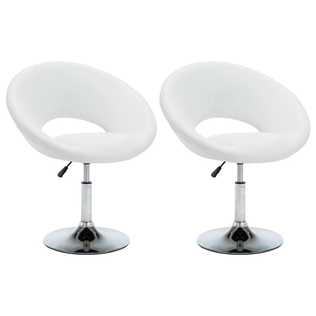 vidaXL Καρέκλες Τραπεζαρίας 2 τεμ. Λευκές 74 x 63,5 x 89 εκ. Δερματίνη