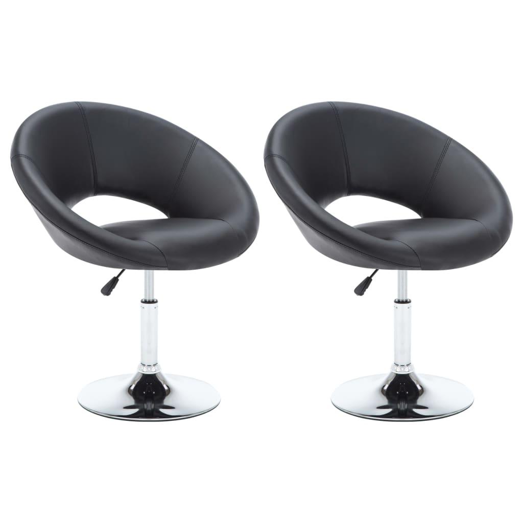 vidaXL Καρέκλες Τραπεζαρίας 2 τεμ. Μαύρες 74 x 63,5 x 89 εκ. Δερματίνη