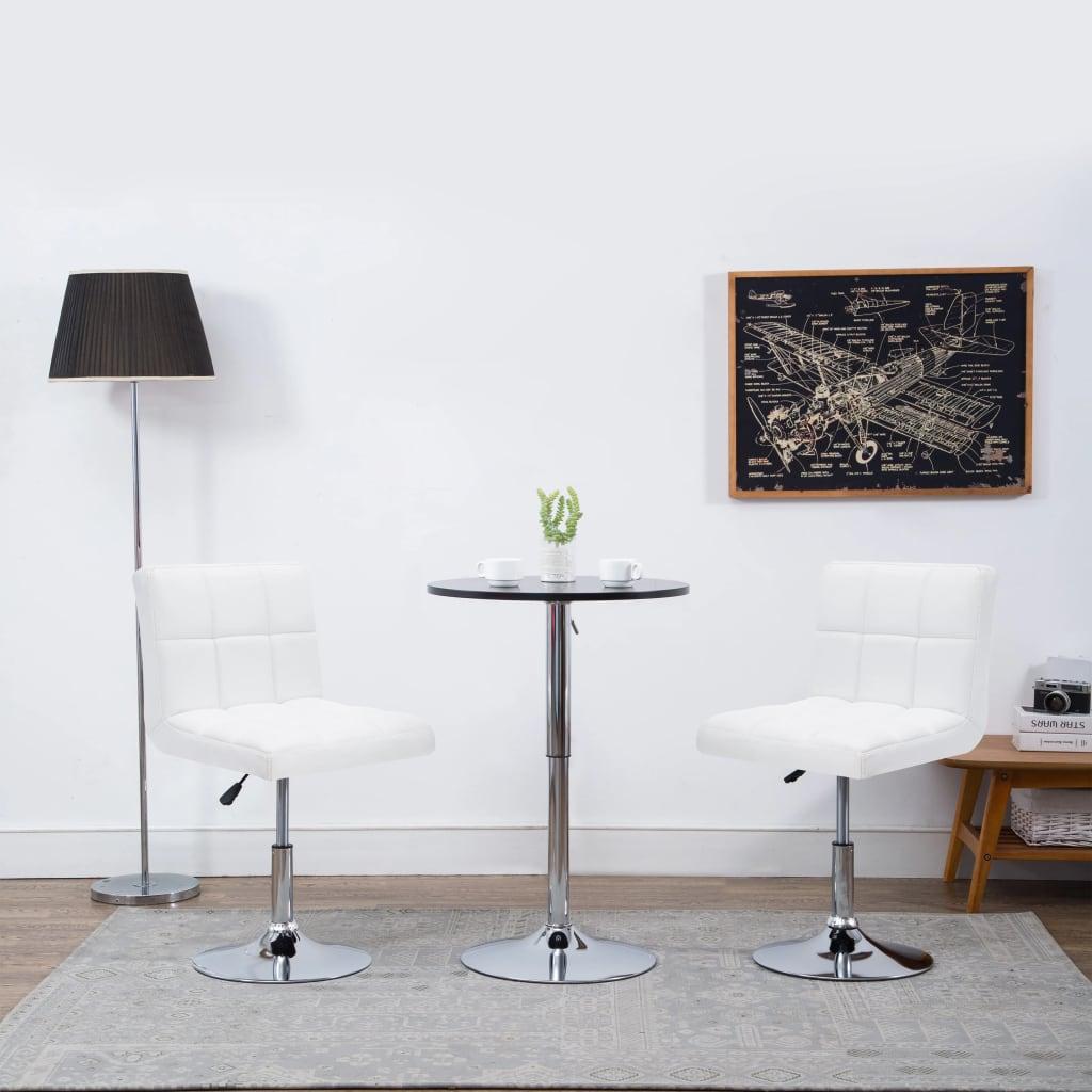 vidaXL Καρέκλες Τραπεζαρίας Περιστρ 2 τεμ Λευκές 50x43x85 εκ Δερματίνη
