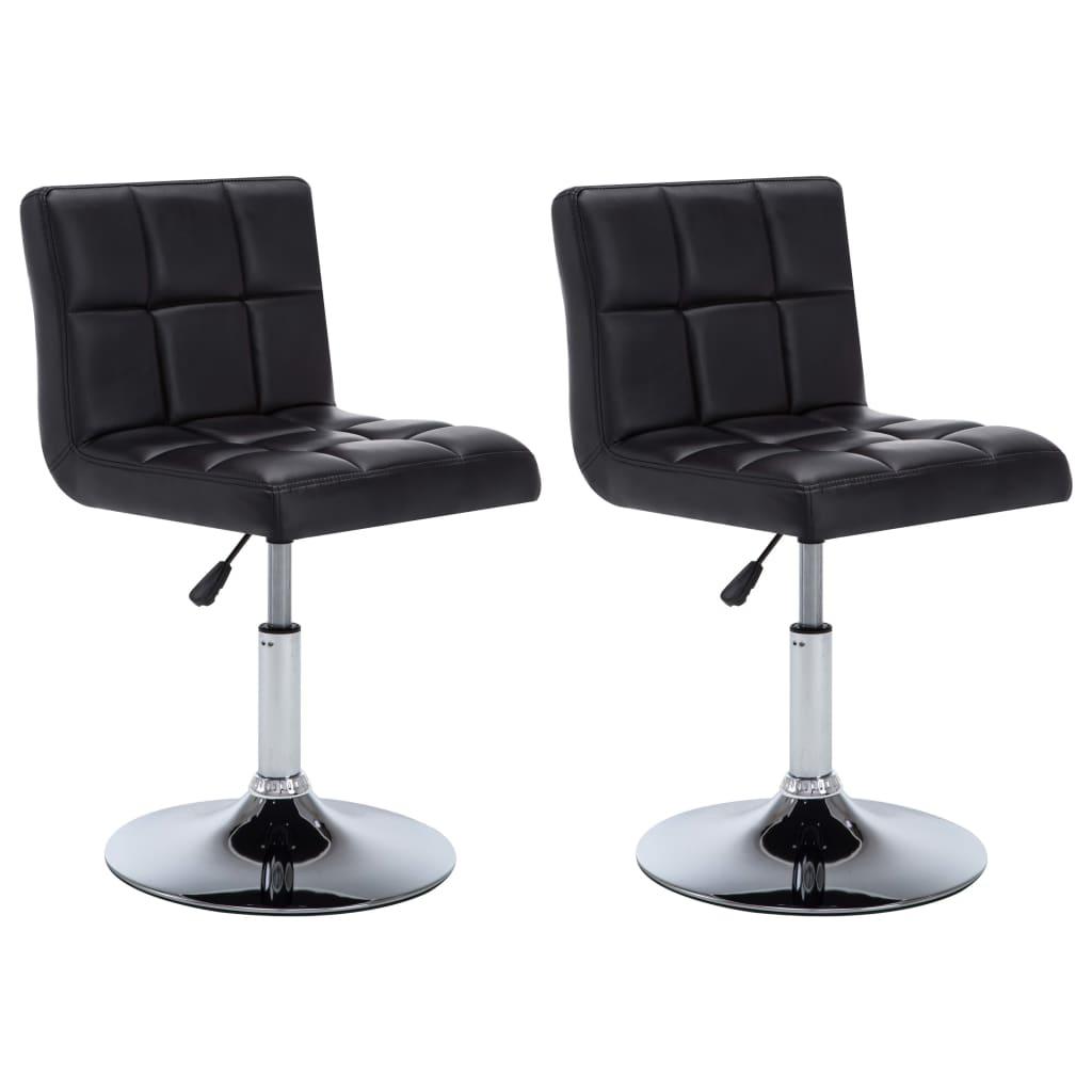 vidaXL Καρέκλες Τραπεζαρίας Περιστρ 2 τεμ Μαύρες 50x43x85 εκ Δερματίνη