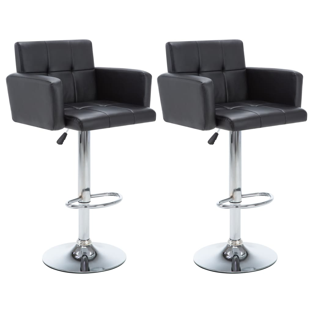 vidaXL Καρέκλες Μπαρ Περιστρ. 2 τεμ. Μαύρες 61x54x112 εκ. Δερματίνη