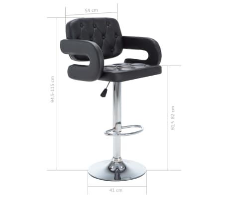 VidaXL Chaise De Bar Pivotante 2 Pcs Similicuir 54 X 58 115 Cm Noir