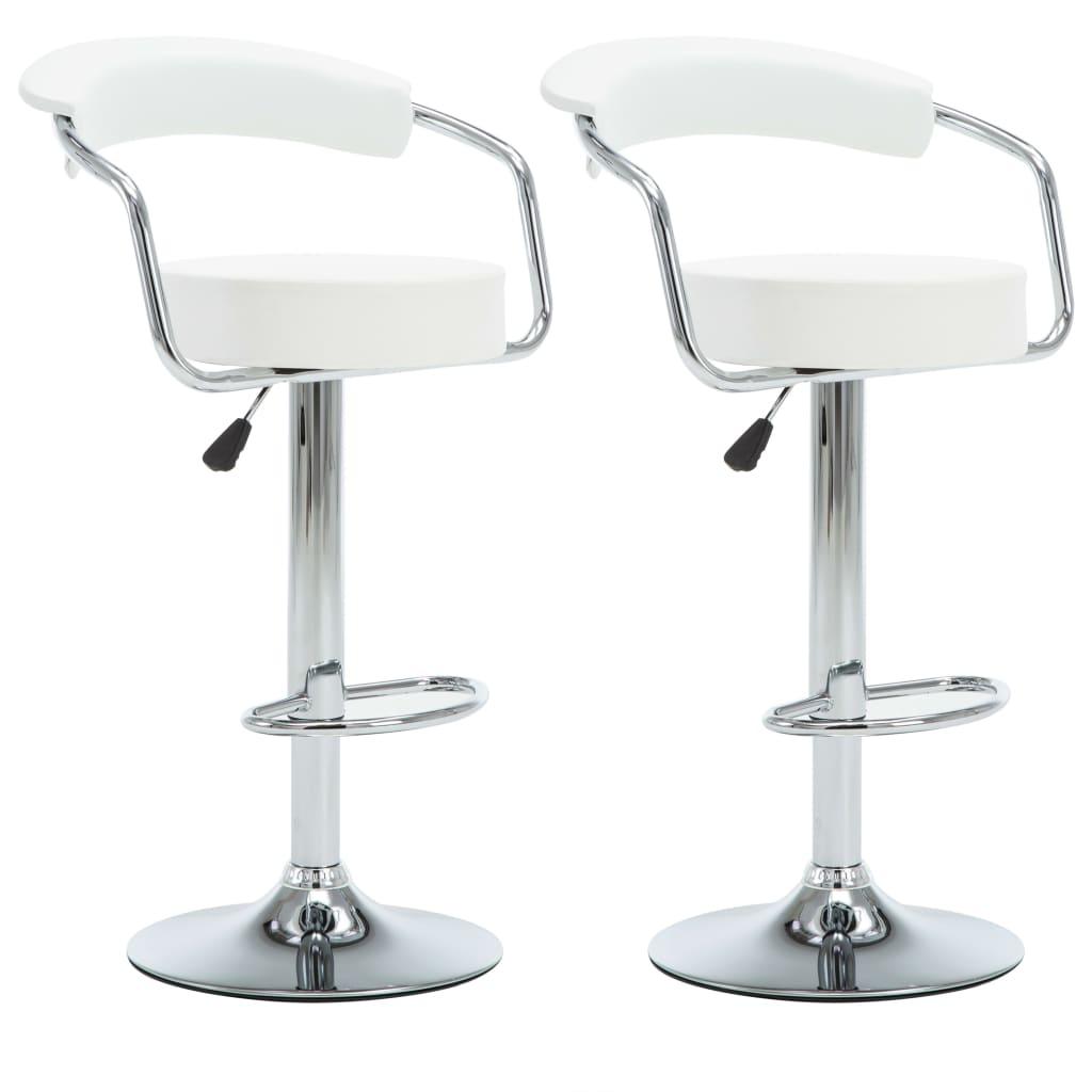 vidaXL Καρέκλες Μπαρ Περιστρ. 2 τεμ. Λευκές 52x51x106 εκ. Δερματίνη