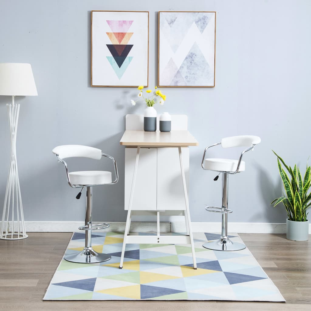 vidaXL Otočné barové židle z umělé kůže 2 ks 52 x 51 x 106 cm bílé