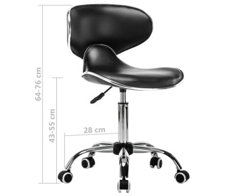 vidaXL Vrtljiv salonski spa stolček umetno usnje črne barve[7/7]