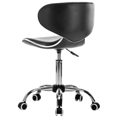 vidaXL Vrtljiv salonski spa stolček umetno usnje črne barve[3/7]