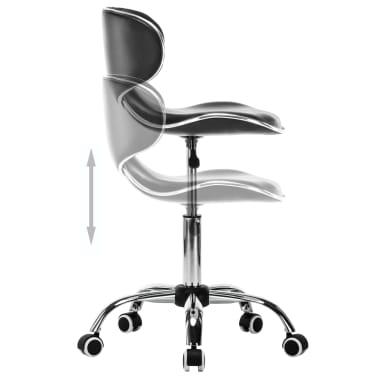 vidaXL Vrtljiv salonski spa stolček umetno usnje črne barve[4/7]