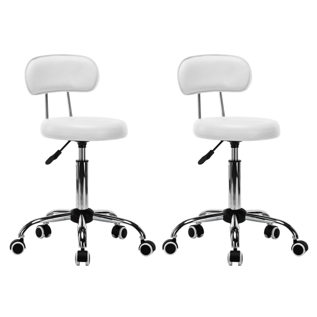 Otočné židle do salónů krásy a spa z umělé kůže bílé 2 ks