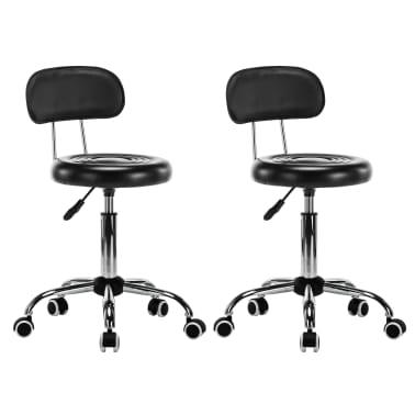 vidaXL Vrtljivi salonski spa stolčki 2 kosa umetno usnje črne barve[1/8]