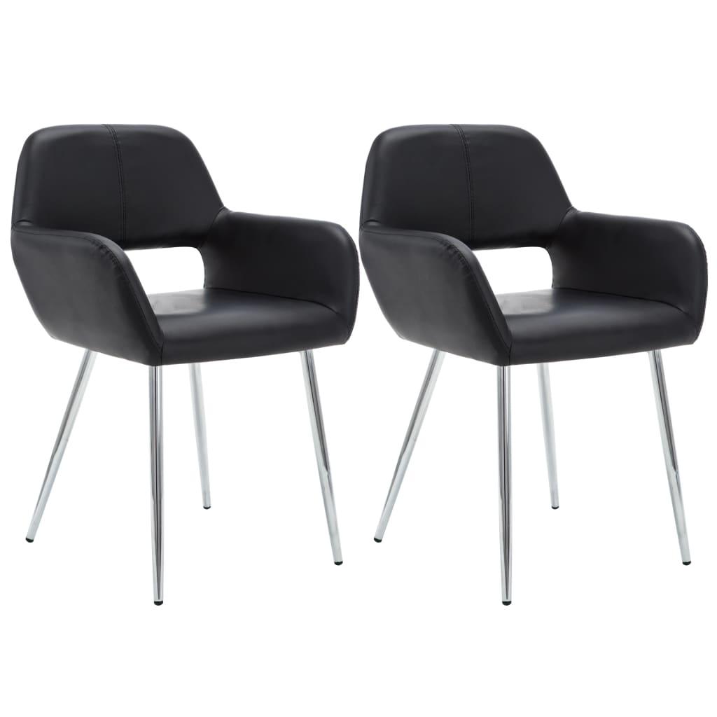 vidaXL Jídelní židle 2 ks čalounění z umělé kůže 57 x 54 x 81 cm černé