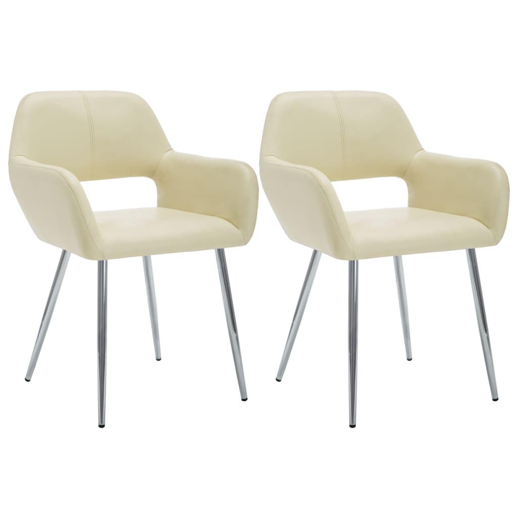 vidaXL Καρέκλες Τραπεζαρίας 2 τεμ. Κρεμ 57x54x81 εκ. Συνθετικό Δέρμα