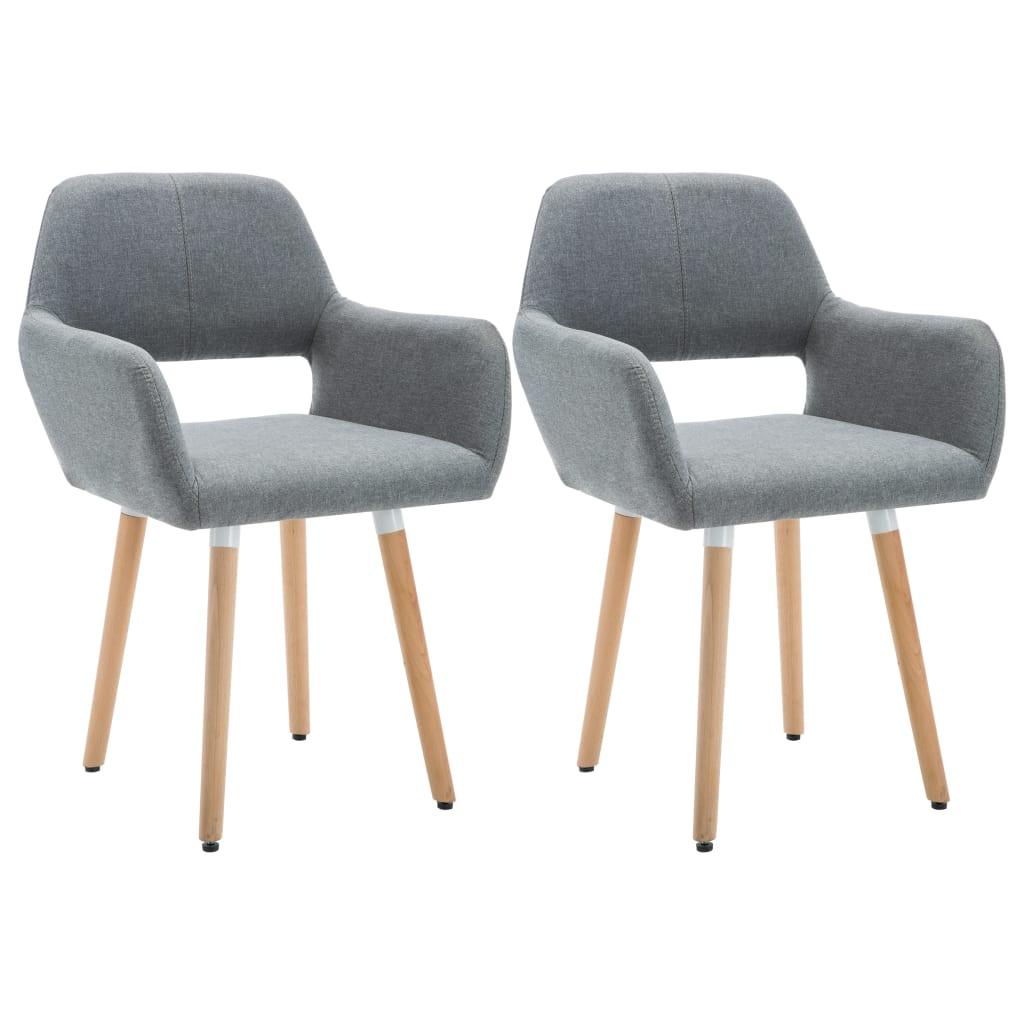 vidaXL Blagovaonske stolice od tkanine 2 kom svjetlosive