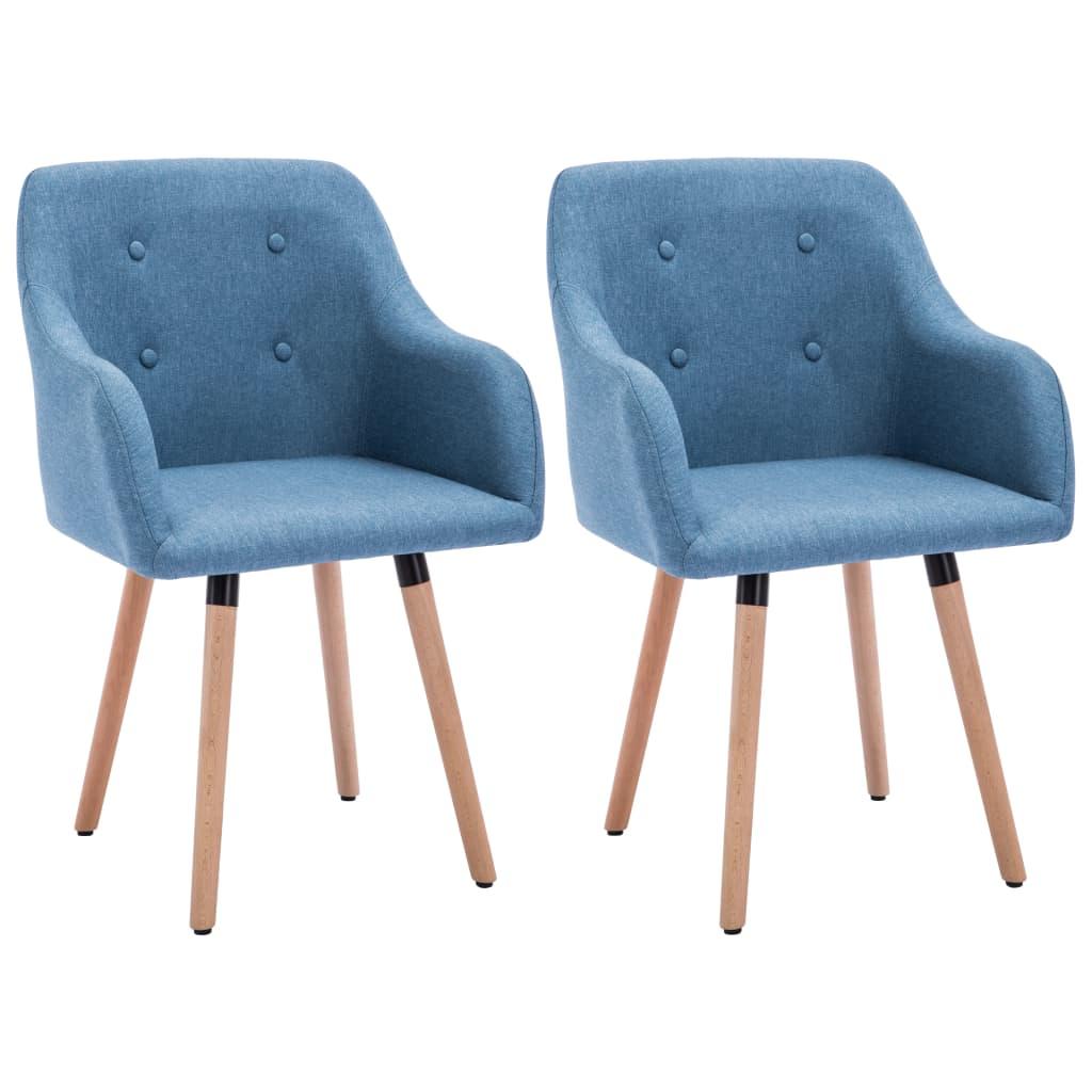 vidaXL Καρέκλες Τραπεζαρίας 2 τεμ. Μπλε 55x55x84 εκ. Υφασμάτινες