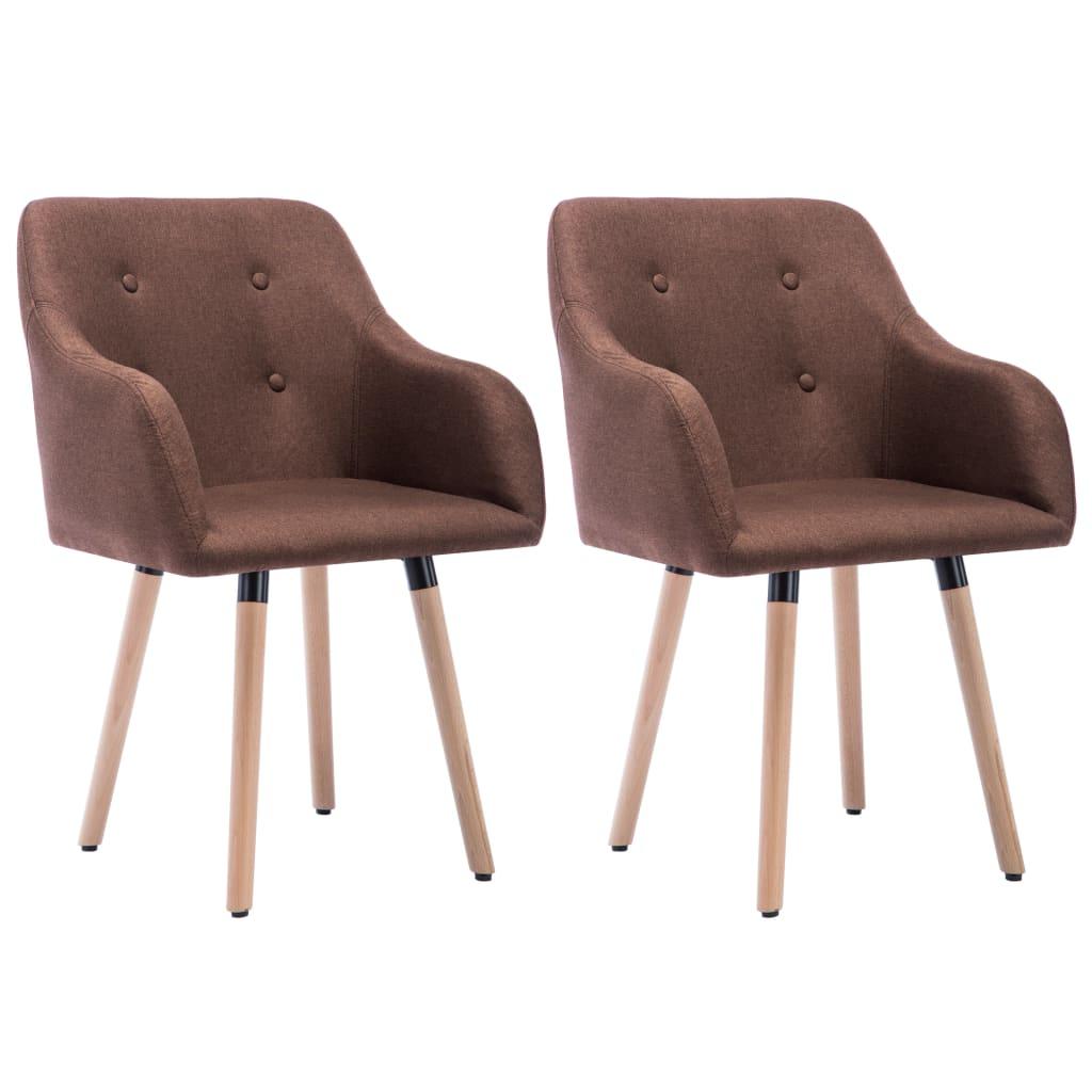 vidaXL Krzesła stołowe, 2 szt., brązowe, tkanina