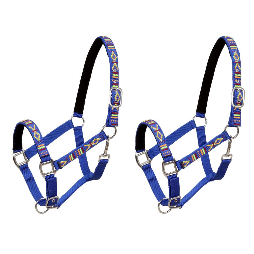 vidaXL Ohlávky na koně 2 ks nylonové velikost cob modré