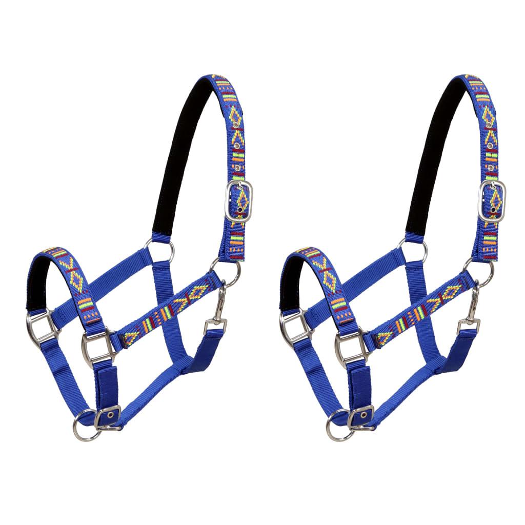 vidaXL Ohlávky na koně 2 ks nylonové velikost full modré