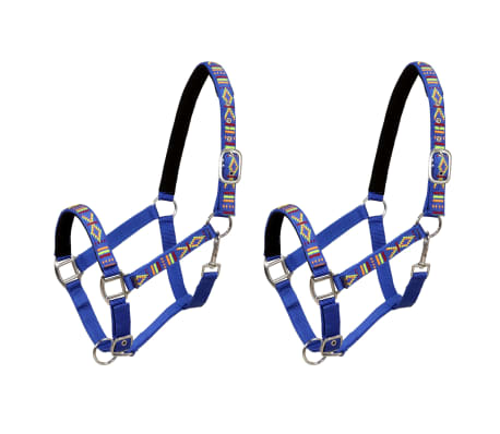 vidaXL Hoofdstellen voor paard maat full nylon blauw 2 st