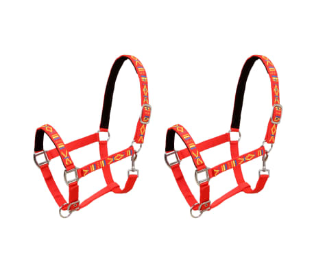 vidaXL Head Collars 2 pcs for Horse Nylon Size Pony Red