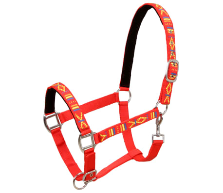vidaXL Căpestre cai, 2 buc., roșu, mărime ponei, nailon[2/5]