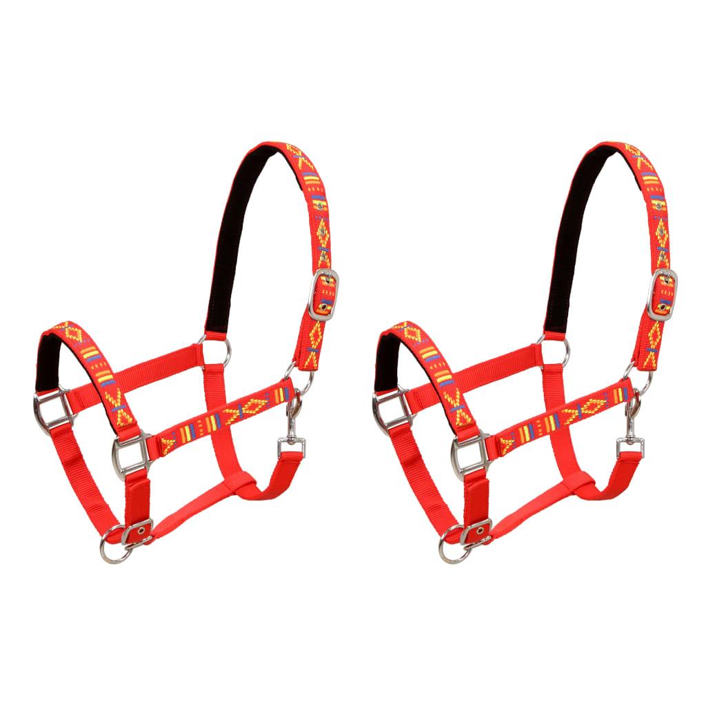 vidaXL Ohlávky na koně 2 ks nylonové velikost cob červené