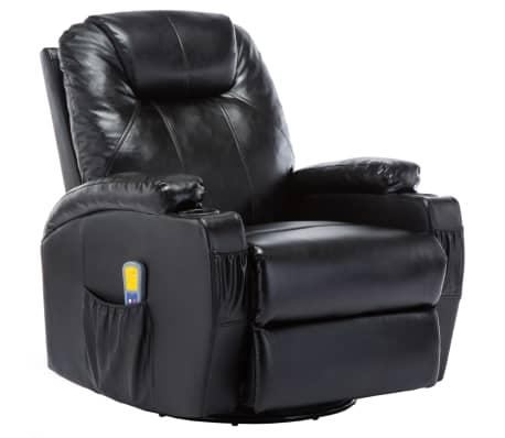 vidaXL Fauteuil électrique à bascule de massage Similicuir Noir[2/15]