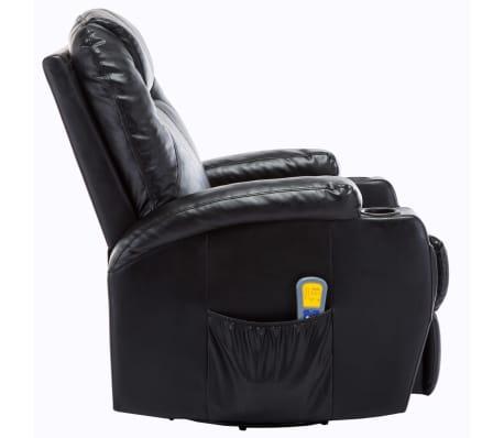 vidaXL Fauteuil électrique à bascule de massage Similicuir Noir[3/15]