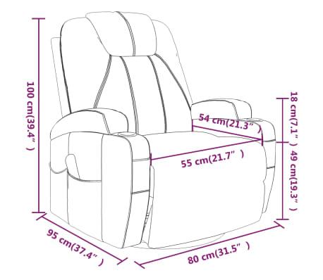 vidaXL Fauteuil électrique à bascule de massage Similicuir Noir[14/15]