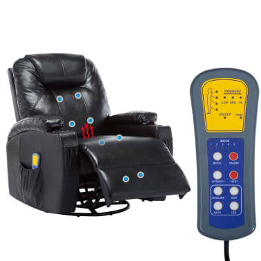 vidaXL Fauteuil électrique à bascule de massage Similicuir Noir[12/15]