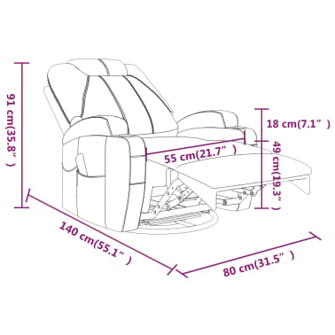 vidaXL Fauteuil électrique à bascule de massage Similicuir Noir[15/15]