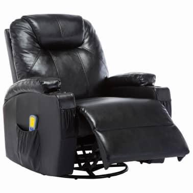 vidaXL Fauteuil électrique à bascule de massage Similicuir Noir[4/15]