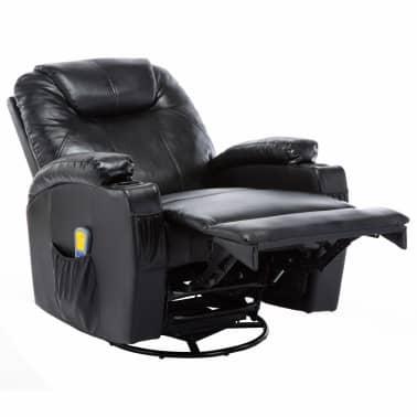 vidaXL Fauteuil électrique à bascule de massage Similicuir Noir[5/15]
