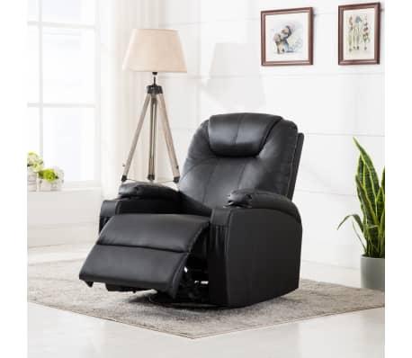 vidaXL Fauteuil électrique à bascule de massage Similicuir Noir[1/15]