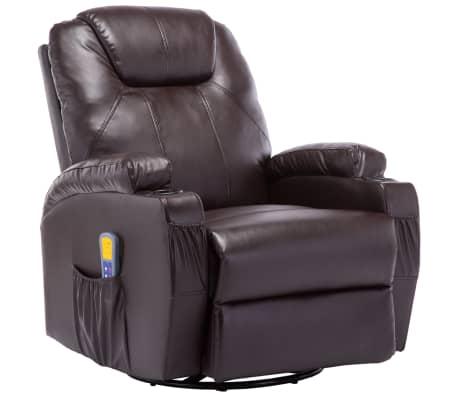 vidaXL Gungande massagefåtölj justerbar brun konstläder