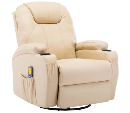 vidaXL Масажен стол с люлееща функция, кремав, изкуствена кожа