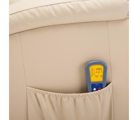vidaXL Supamasis masažinis krėslas, kreminės spalvos, dirbtinė oda[11/15]