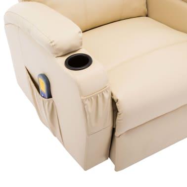 vidaXL Supamasis masažinis krėslas, kreminės spalvos, dirbtinė oda[9/15]