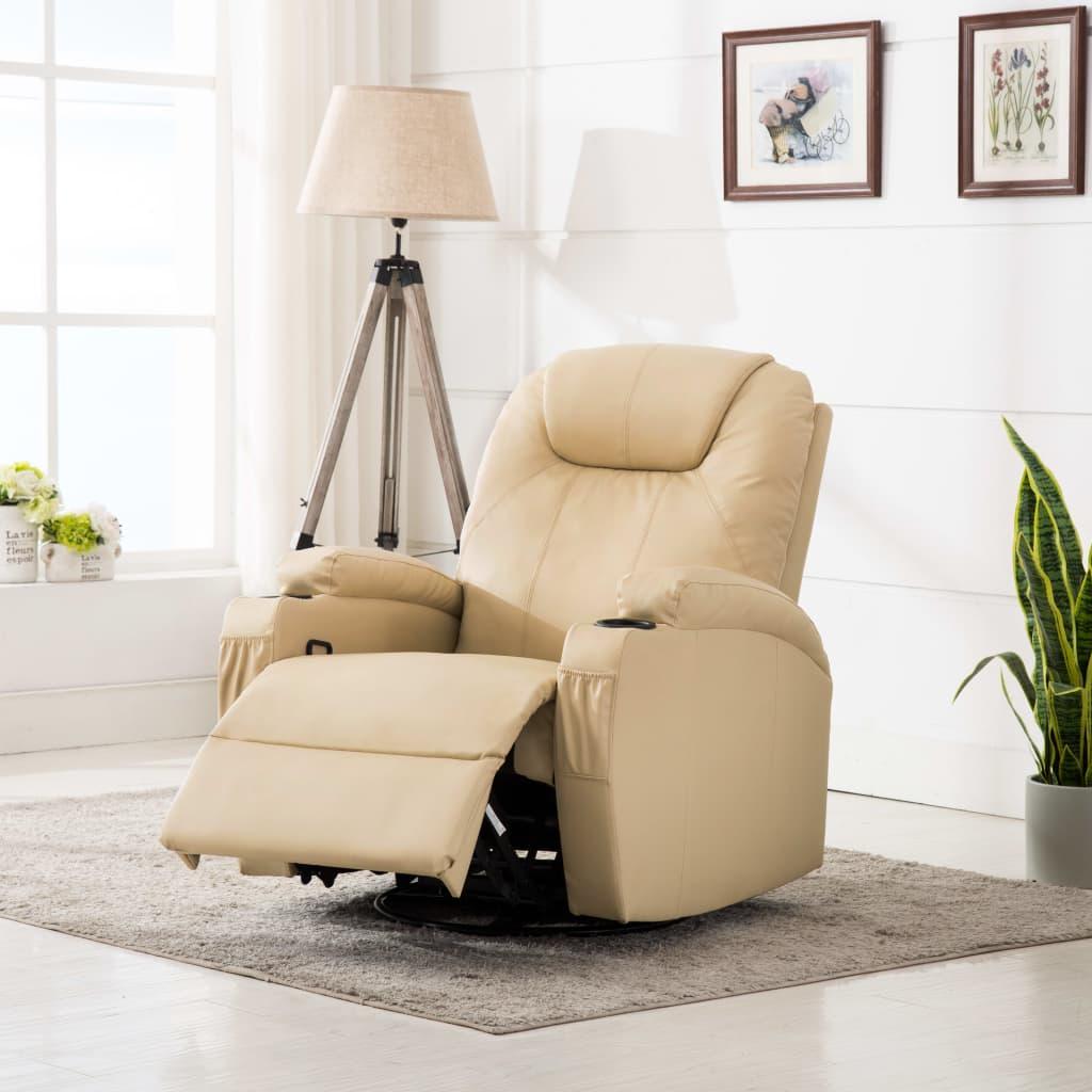 vidaXL Bujany fotel do masażu, kremowy, sztuczna skóra