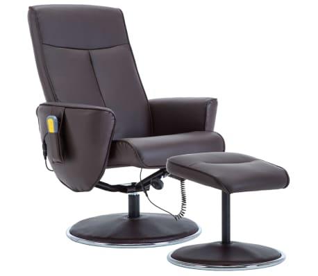 vidaXL Masažni naslanjač s stolčkom za noge rjavo umetno usnje