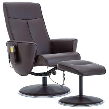 vidaXL Poltrona massagem ajustável c/ apoio pés couro artif. castanho[1/16]