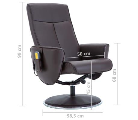 vidaXL Poltrona massagem ajustável c/ apoio pés couro artif. castanho[15/16]