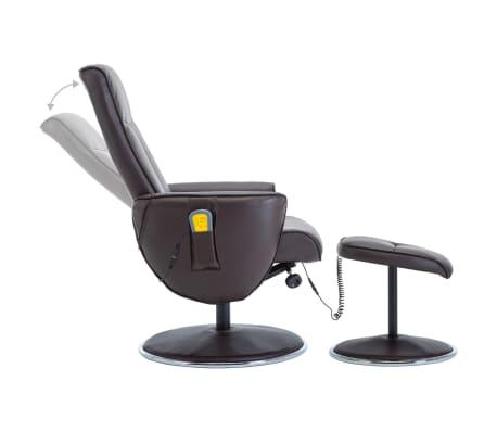 vidaXL Poltrona massagem ajustável c/ apoio pés couro artif. castanho[4/16]