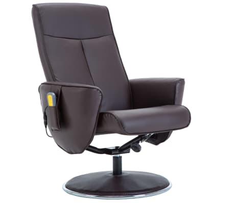vidaXL Poltrona massagem ajustável c/ apoio pés couro artif. castanho[5/16]