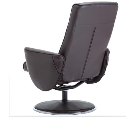 vidaXL Poltrona massagem ajustável c/ apoio pés couro artif. castanho[8/16]