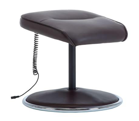 vidaXL Poltrona massagem ajustável c/ apoio pés couro artif. castanho[9/16]