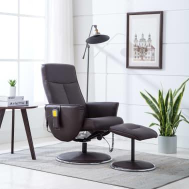 vidaXL Poltrona massagem ajustável c/ apoio pés couro artif. castanho[2/16]