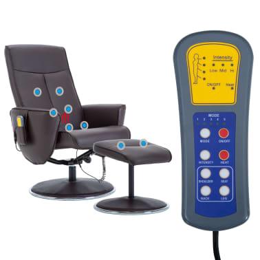 vidaXL Poltrona massagem ajustável c/ apoio pés couro artif. castanho[12/16]