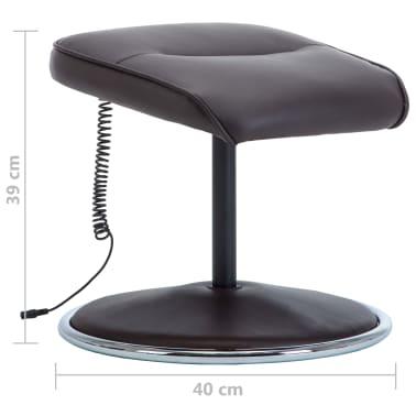 vidaXL Poltrona massagem ajustável c/ apoio pés couro artif. castanho[16/16]