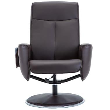 vidaXL Poltrona massagem ajustável c/ apoio pés couro artif. castanho[6/16]