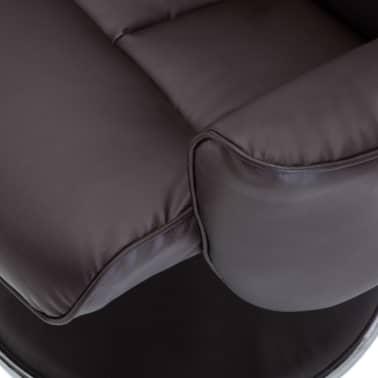 vidaXL Poltrona massagem ajustável c/ apoio pés couro artif. castanho[10/16]
