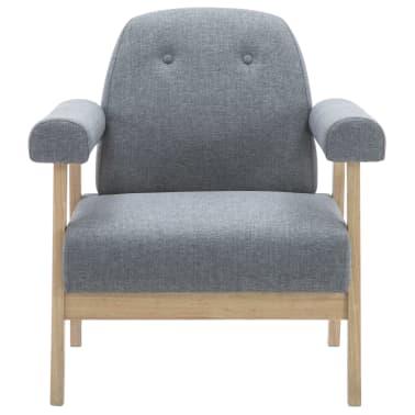 vidaXL Fotel tapicerowany tkaniną, jasnoszary[3/8]
